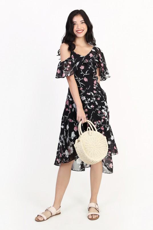 5c4ff7a8a4 Valencia Asymmetric Floral Dress in Black