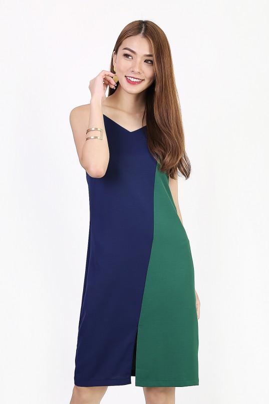 bab9751fa29a Allison Colorblock Dress in Navy-Green