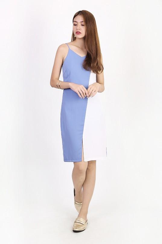 b02ba2aae1 Allison Colorblock Dress in Blue-White