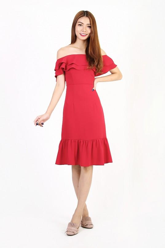 7204e4597e9 Rheya Off Shoulder Dress in Red