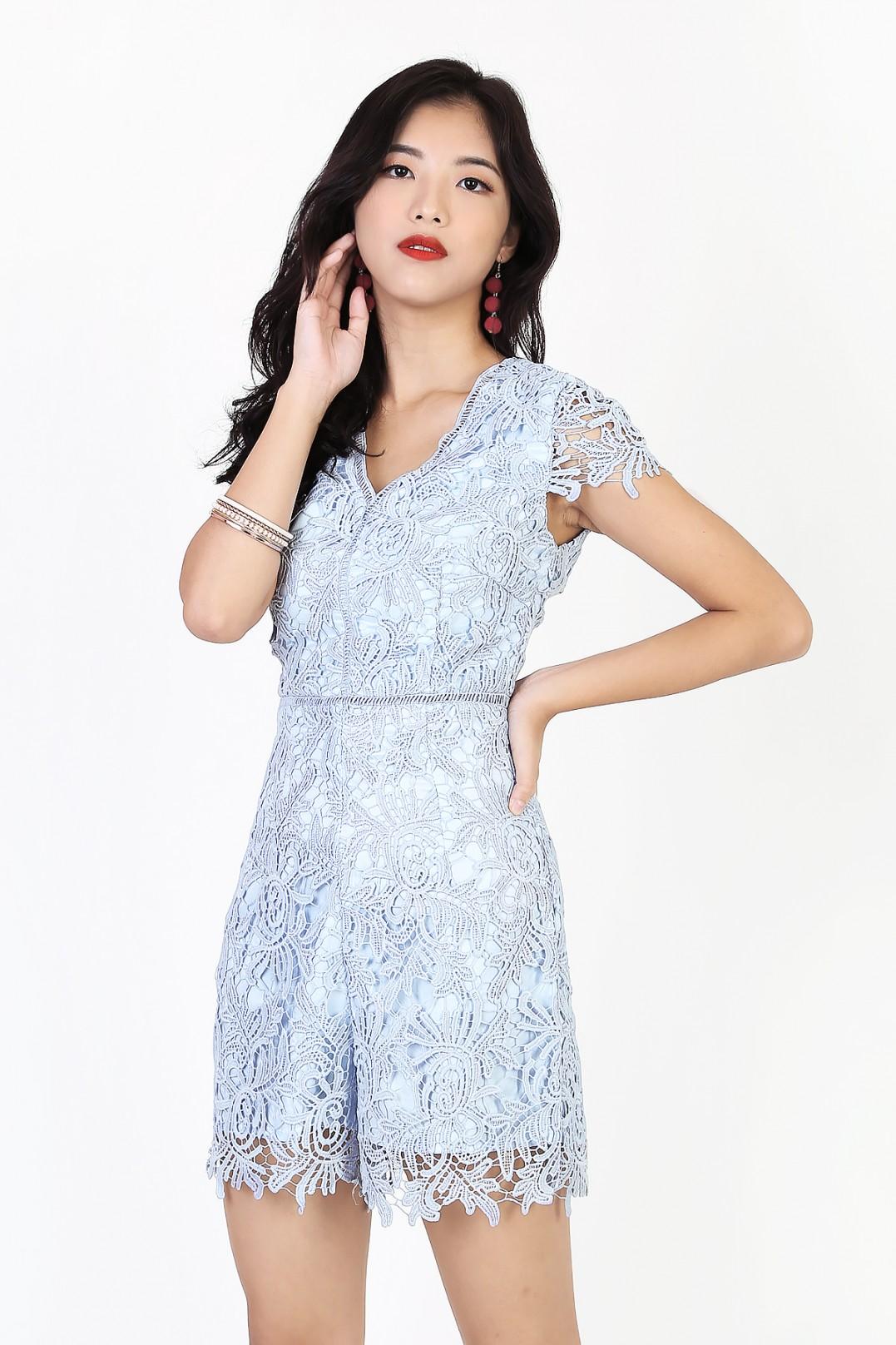 34507406fdd0 Keisha Crochet Romper in Sky Blue - MGP