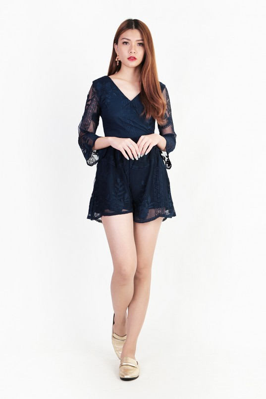4f20becac4 Alyssa Embroidery Romper in Navy