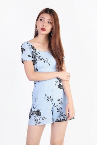 9c5280172f2a Itzel Floral Romper in Sky Blue - MGP