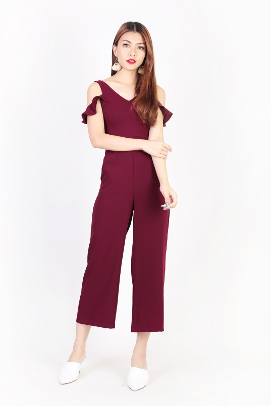 9a2cb220f3ef Pippa Flutter Jumpsuit in Wine Red