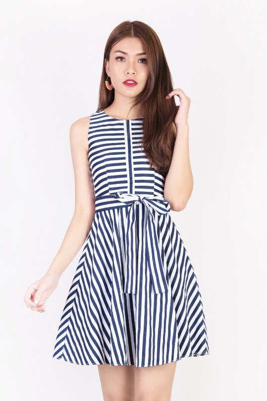 137a2a36449 Eleonore Stripes Dress in Navy