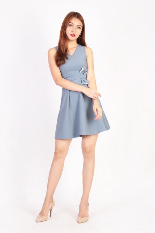 8f73cb9e3f8e Adonia Ribbon Dress in Steel Blue