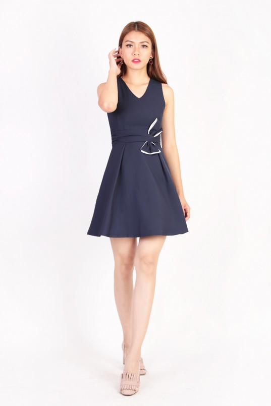 Adonia Ribbon Dress in Navy 28edc1448