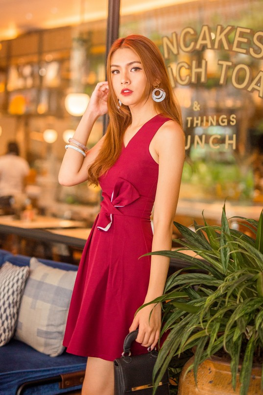 449674ef45a3b Adonia Ribbon Dress in Burgundy Red