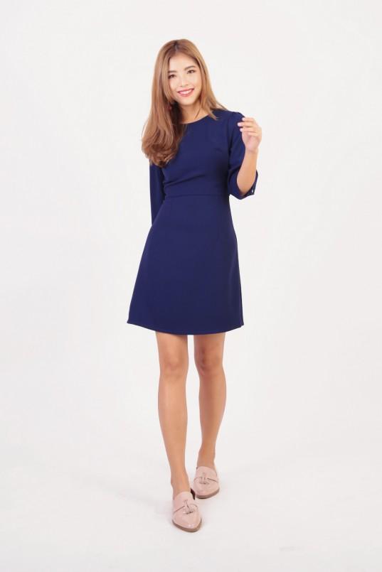e9d7361eee9 Monna Sleeved Dress in Cobalt Navy