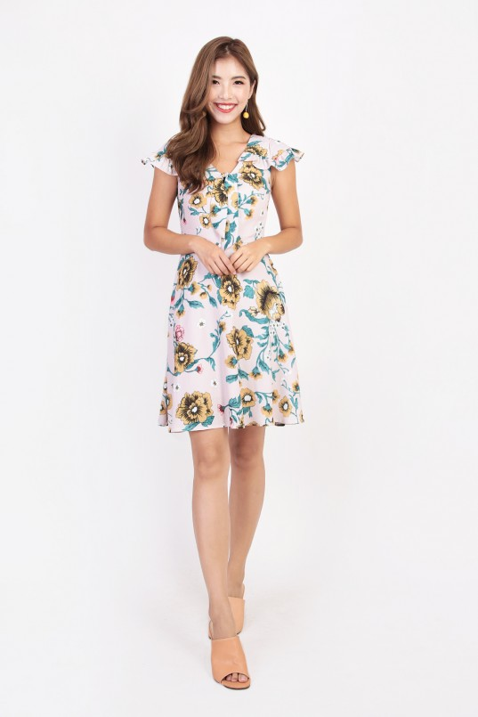 089aceb94d Lerraine Floral Dress in Nude · This mini style has a breezy silhouette and  cascading ruffles that shape your ...