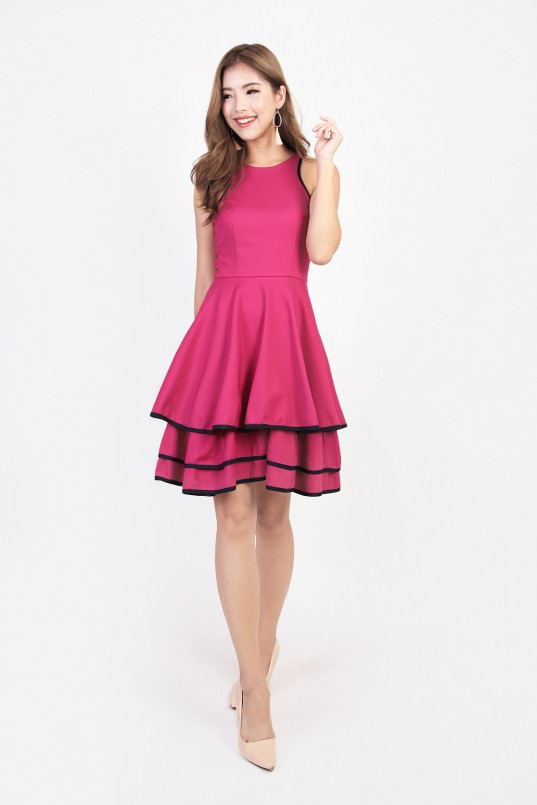 4cb5476035d877 Adlucia Tiered Dress in Magenta