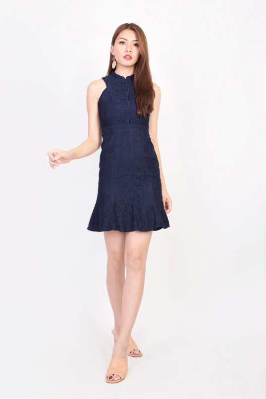 48ef78fe6 Lillie Lace Cheongsam in Navy