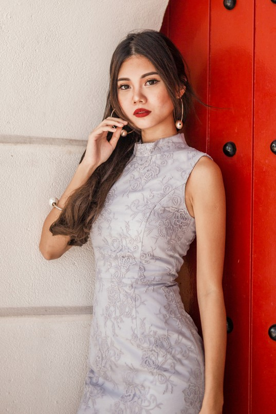 0dae9593713 RESTOCK  Ivory High Neck Lace Dress in Grey Lilac
