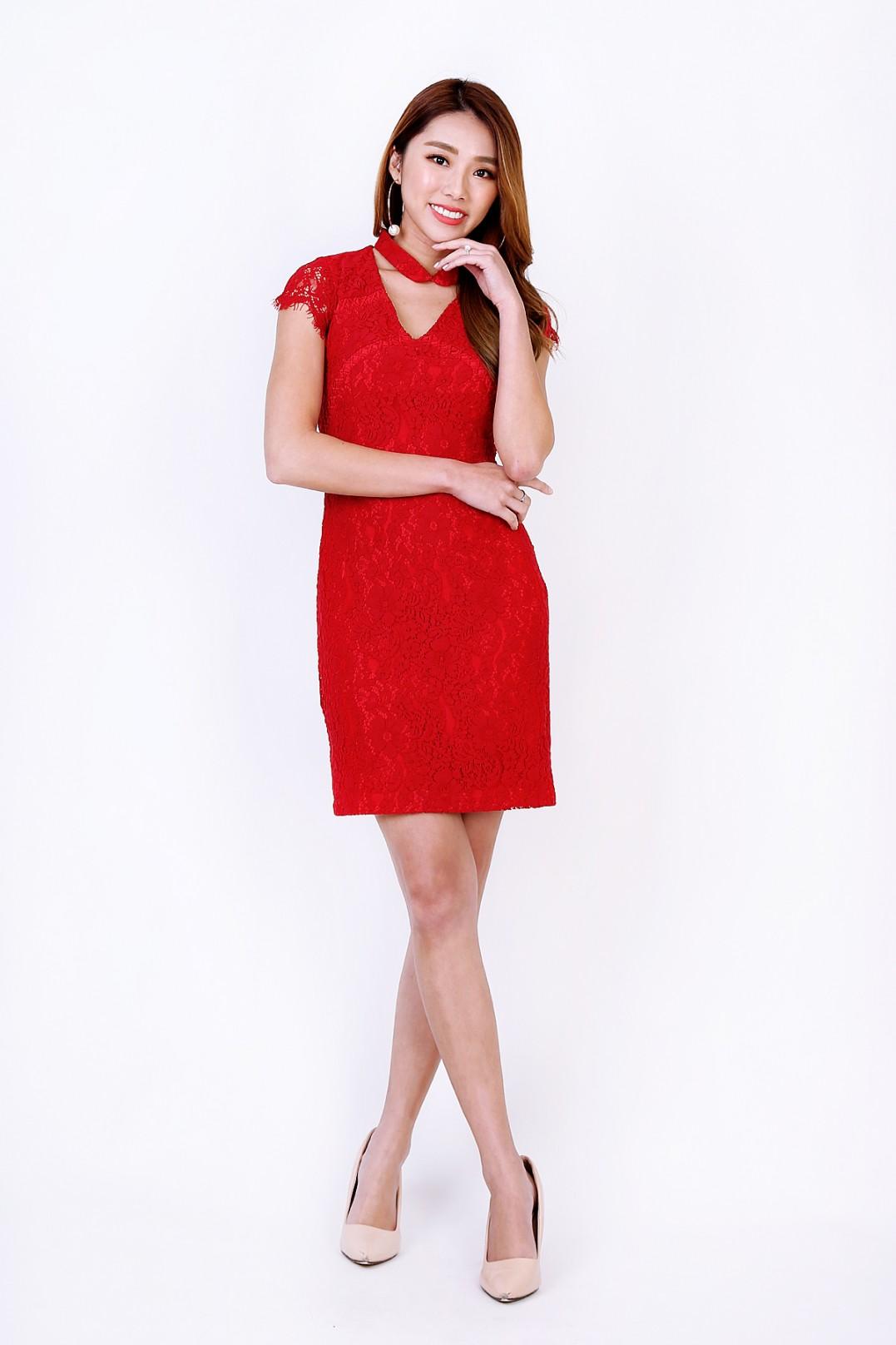 b146c64701711 RESTOCK: Magnolia Lace Dress in Red - MGP