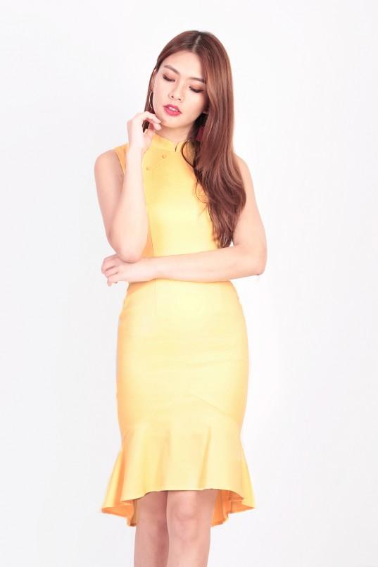 39a8fd49bdba Vogue Mermaid Cheongsam in Yellow
