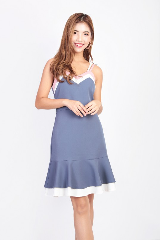 07b43c08b3d Isabelle Tri Color Dress in Periwinkle Blue
