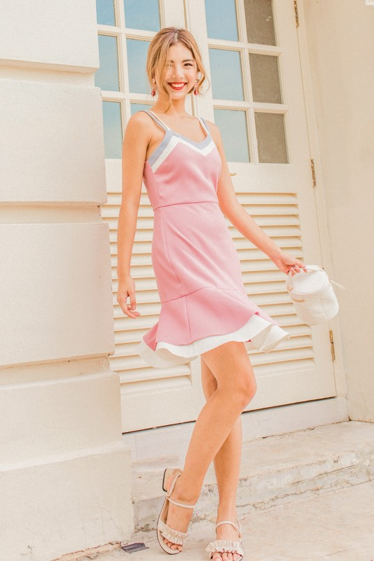 8a63dcdf5d77 Isabelle Tri Color Dress in Pink