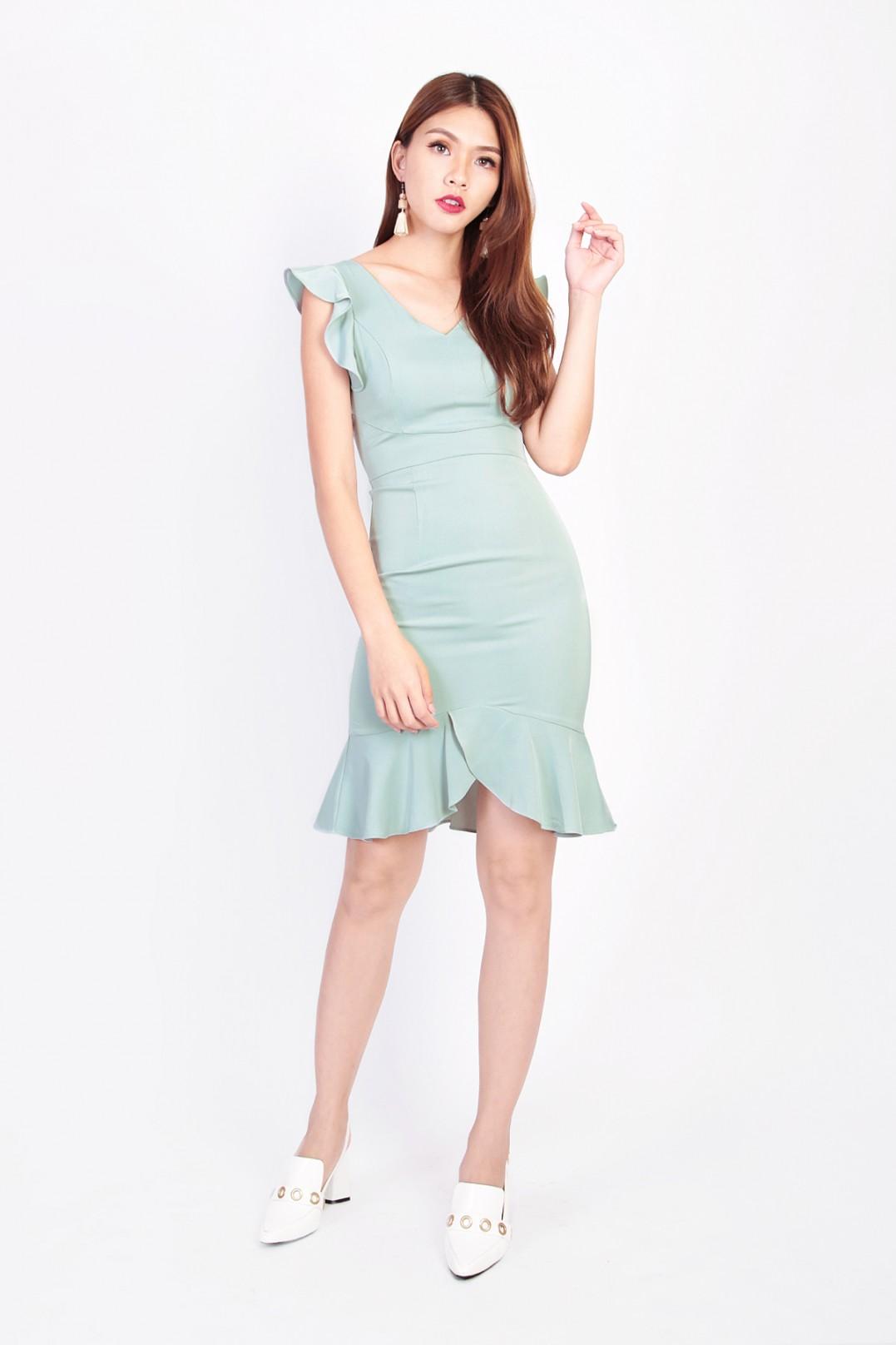 93a2c862817c Mia Flutter Dress in Jade - MGP