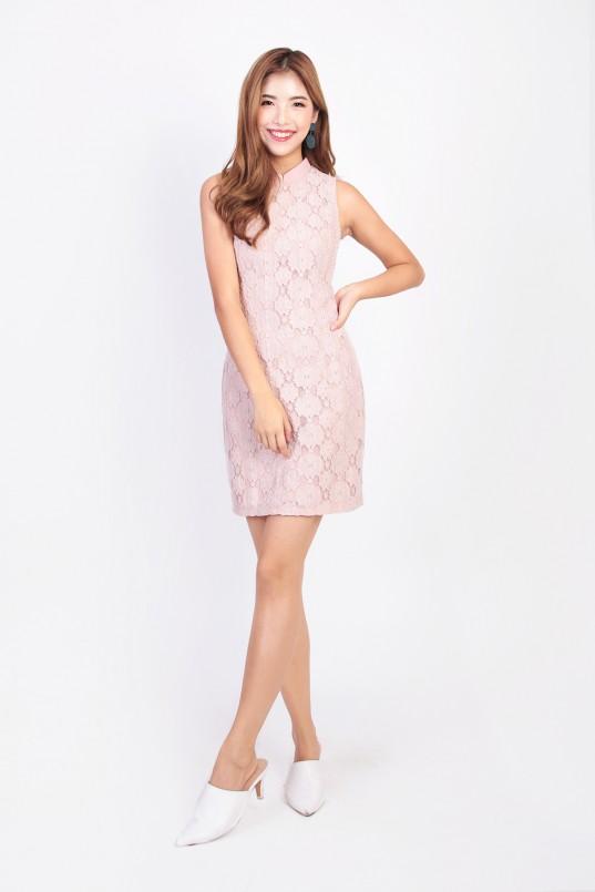 25d66340f Le Xin Crochet Cheongsam in Pink