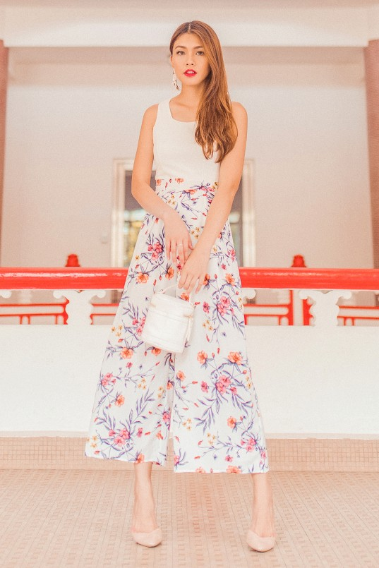 9c11e2a5406 Madeira Floral Jumpsuit in White