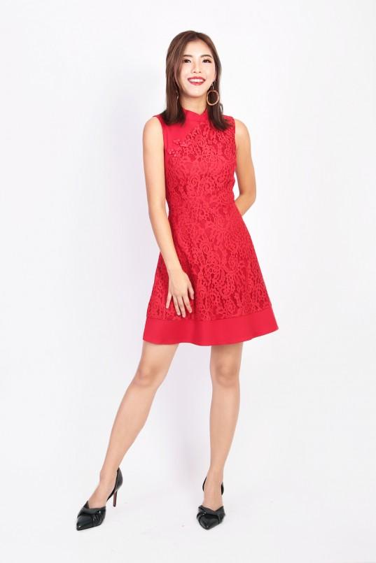 41ab217eea1 Kira Oriental Lace Cheongsam in Red