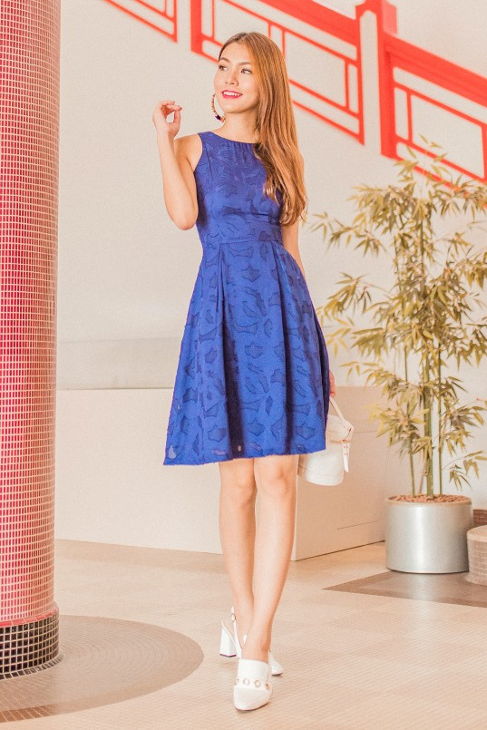 bf3fb668f0 Aiden Floral Cutout Dress in Navy