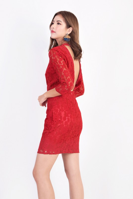 3816aad5588 Lena Backless Lace Dress in Red