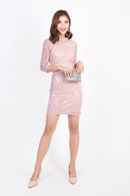 27e4532471cf Lena Backless Lace Dress in Champagne Pink