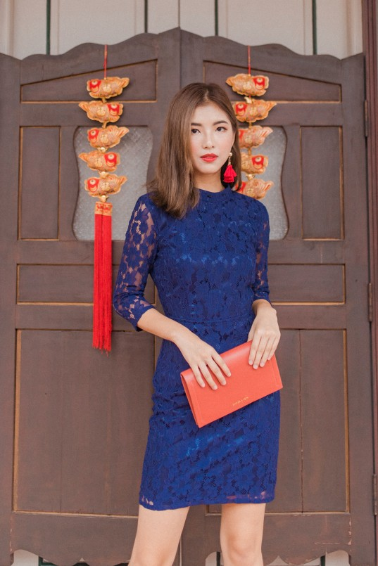 2e7fd28f4bc Lena Backless Lace Dress in Navy