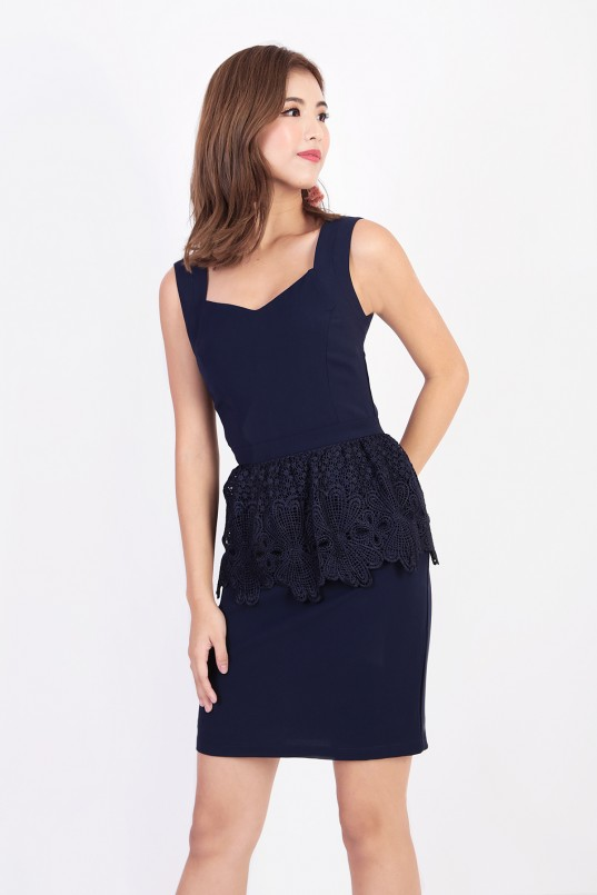 aca430ce32830d Jani Peplum Crochet Dress in Navy