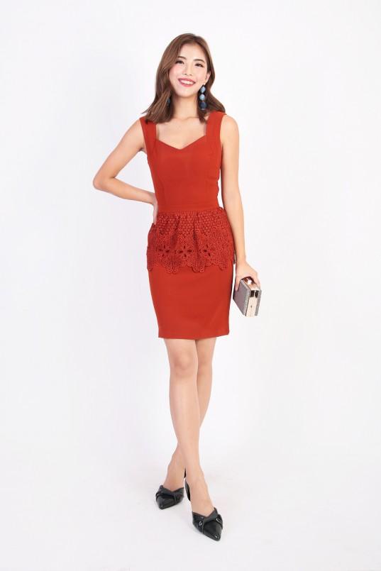 Jani Peplum Dress in Rustic Orange 9481362798aa