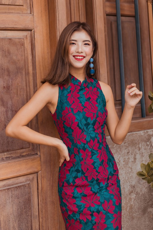 266fd420d Luxe Duo Lace Cheongsam in Wine Red