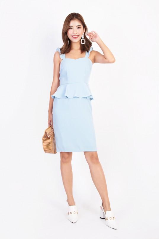 86e1bc7b28f0 Loris Peplum Dress in Powder Blue