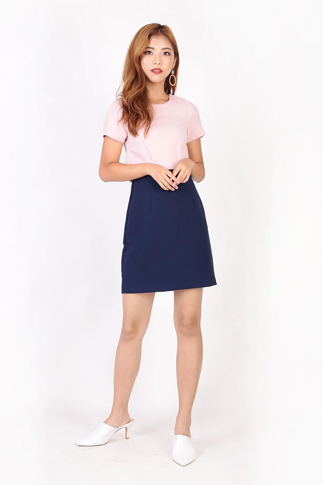 711995c313f RESTOCK  Jolaine Colorblock Dress in Pink - MGP