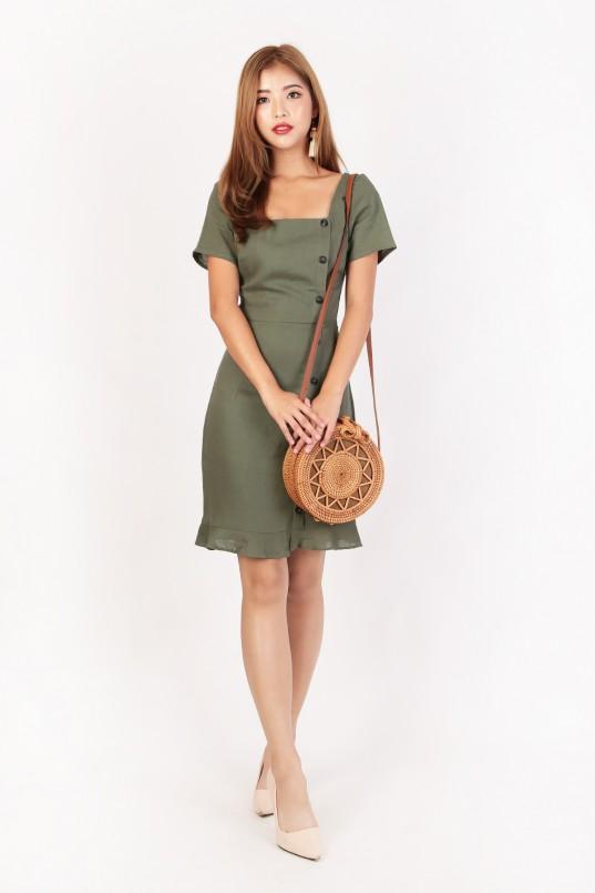 1fc5f266845e RESTOCK  Jodi Button Down Dress in Olive