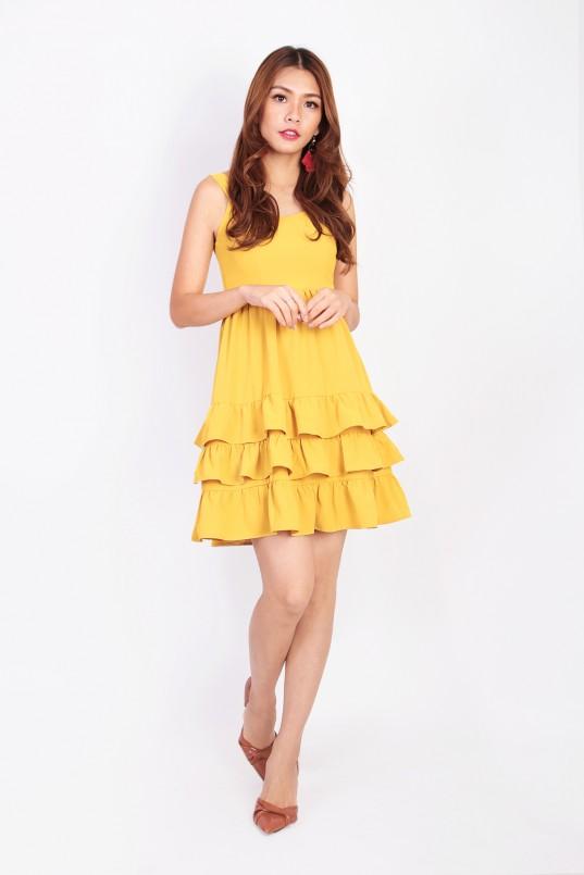 c8010cada63f Capella Tiered Dress in Mustard