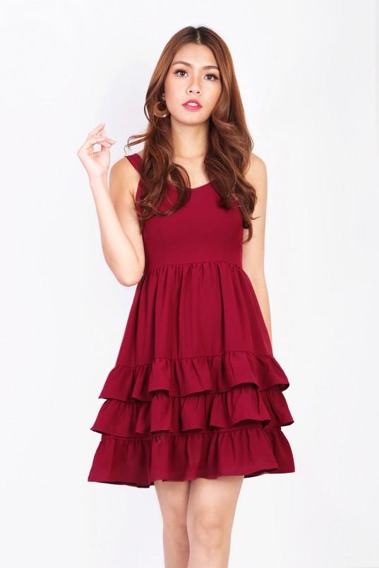 4adee1384ff Capella Tiered Dress in Wine Red