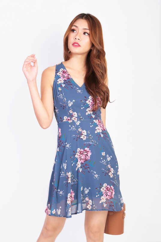 32dc1494ee Fable Floral Dress in Ash Blue