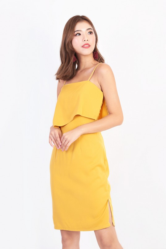358dbdf8df31 Paige Slit Dress in Mustard