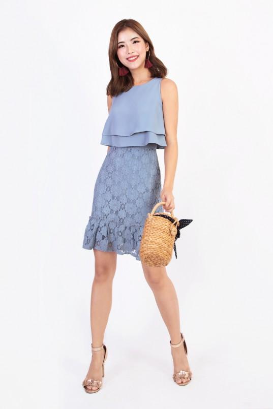 084784446b51 Naila Crochet Dress in Steel Blue