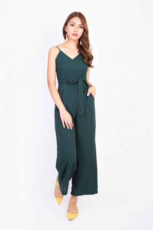 7a7366de13a Aconia Stripes Jumpsuit in Forest Green