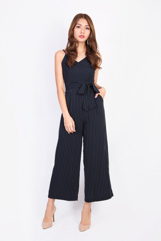 6fdf9a3a404 Aconia Stripes Jumpsuit in Navy