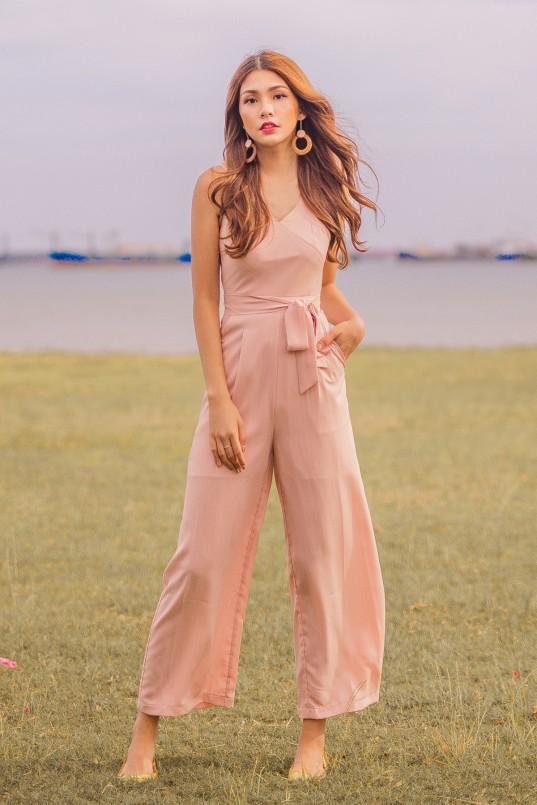 6d50d26daed4 Aconia Stripes Jumpsuit in Blush Pink