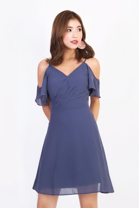 ba646f84506606 Brina Cold Shoulder Dress in Steel Blue
