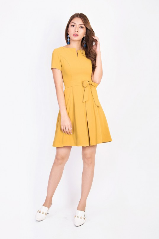 62c68cb55d6b Gwenda Sleeved Dress in Mustard