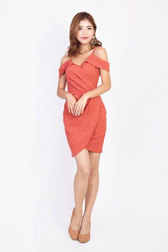 Ynes Cold Shoulder Dress in Burnt Orange bbaffd3cd