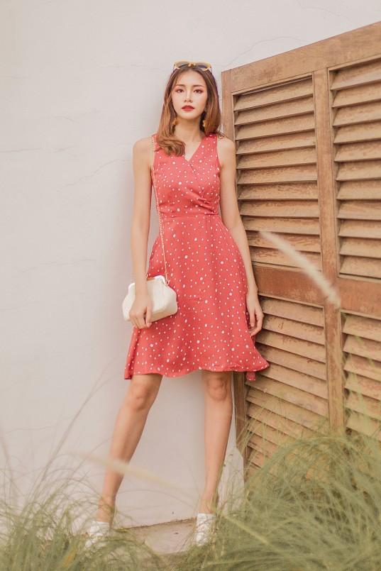 95fb78938b5b Zyna Polka Dots Dress in Pink