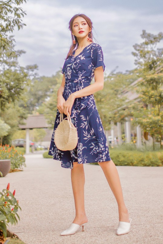 eb7f0a7d3c BACKORDERS  Jessene Floral Wrap Dress in Navy