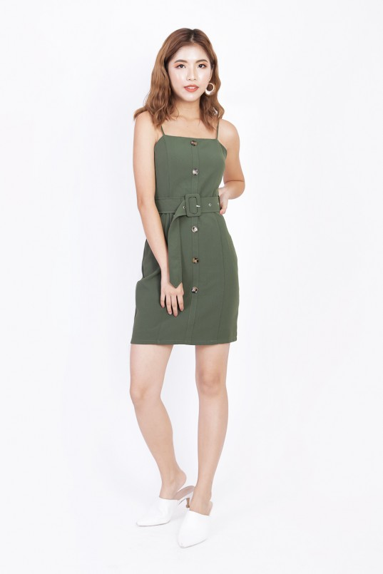aac4505405fe10 Aitana Button Down Dress in Olive
