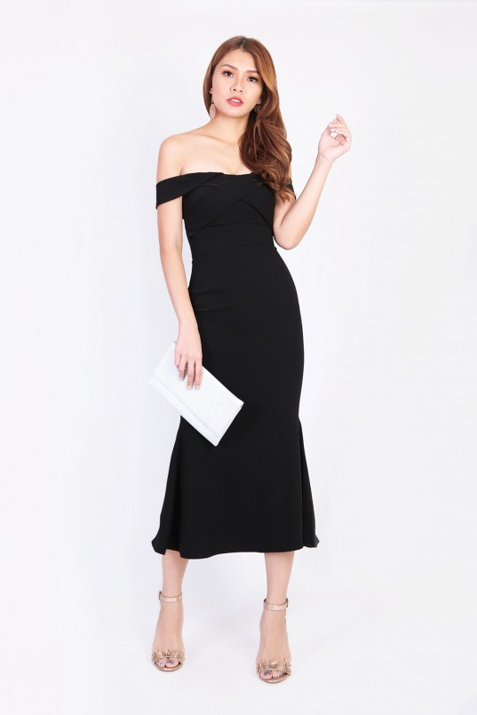 56973da1299a Madeleine Off Shoulder Maxi Dress in Black